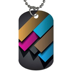 Shapes Box Brown Pink Blue Dog Tag (One Side)