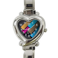 Shapes Box Brown Pink Blue Heart Italian Charm Watch