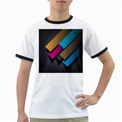 Shapes Box Brown Pink Blue Ringer T-Shirts