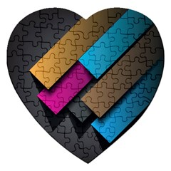 Shapes Box Brown Pink Blue Jigsaw Puzzle (Heart)