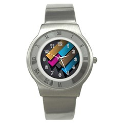 Shapes Box Brown Pink Blue Stainless Steel Watch