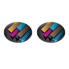 Shapes Box Brown Pink Blue Cufflinks (Oval)