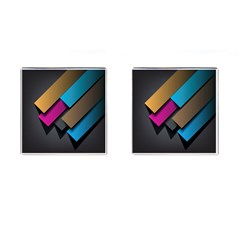 Shapes Box Brown Pink Blue Cufflinks (Square)