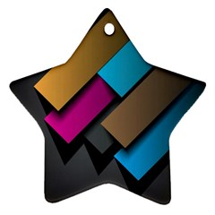 Shapes Box Brown Pink Blue Star Ornament (Two Sides)
