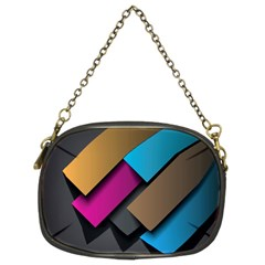 Shapes Box Brown Pink Blue Chain Purses (Two Sides)