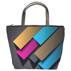 Shapes Box Brown Pink Blue Bucket Bags