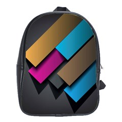 Shapes Box Brown Pink Blue School Bags(Large)