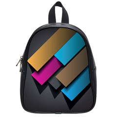 Shapes Box Brown Pink Blue School Bags (Small)