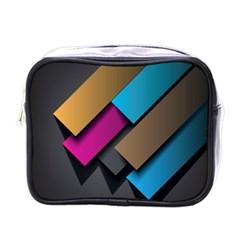 Shapes Box Brown Pink Blue Mini Toiletries Bags