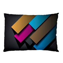 Shapes Box Brown Pink Blue Pillow Case (Two Sides)