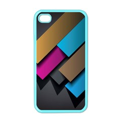 Shapes Box Brown Pink Blue Apple iPhone 4 Case (Color)