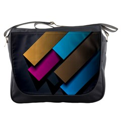 Shapes Box Brown Pink Blue Messenger Bags