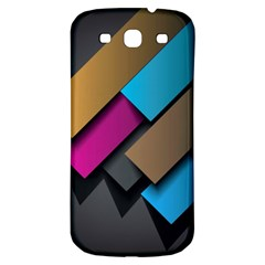 Shapes Box Brown Pink Blue Samsung Galaxy S3 S III Classic Hardshell Back Case