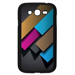 Shapes Box Brown Pink Blue Samsung Galaxy Grand DUOS I9082 Case (Black)