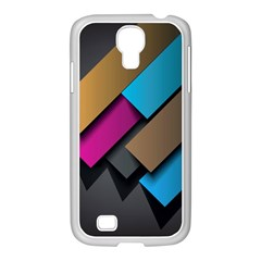 Shapes Box Brown Pink Blue Samsung GALAXY S4 I9500/ I9505 Case (White)