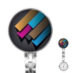 Shapes Box Brown Pink Blue Stainless Steel Nurses Watch