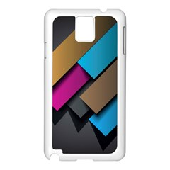 Shapes Box Brown Pink Blue Samsung Galaxy Note 3 N9005 Case (White)