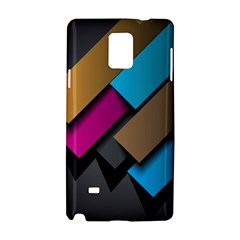 Shapes Box Brown Pink Blue Samsung Galaxy Note 4 Hardshell Case
