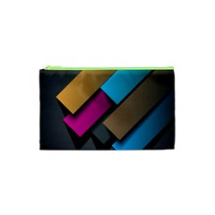 Shapes Box Brown Pink Blue Cosmetic Bag (XS)