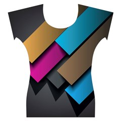 Shapes Box Brown Pink Blue Women s Cap Sleeve Top
