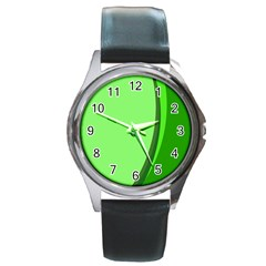 Simple Green Round Metal Watch