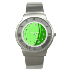Simple Green Stainless Steel Watch