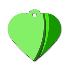 Simple Green Dog Tag Heart (Two Sides)