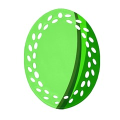 Simple Green Oval Filigree Ornament (2-Side)
