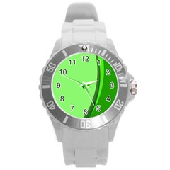 Simple Green Round Plastic Sport Watch (L)