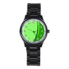Simple Green Stainless Steel Round Watch