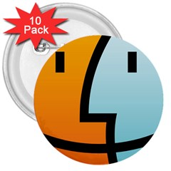 Two Fafe Orange Blue 3  Buttons (10 pack)
