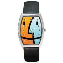 Two Fafe Orange Blue Barrel Style Metal Watch