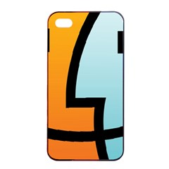 Two Fafe Orange Blue Apple iPhone 4/4s Seamless Case (Black)