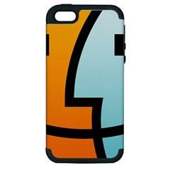 Two Fafe Orange Blue Apple iPhone 5 Hardshell Case (PC+Silicone)