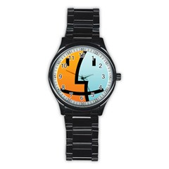 Two Fafe Orange Blue Stainless Steel Round Watch