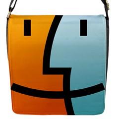 Two Fafe Orange Blue Flap Messenger Bag (S)