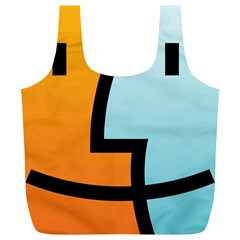 Two Fafe Orange Blue Full Print Recycle Bags (L)