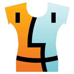 Two Fafe Orange Blue Women s Cap Sleeve Top