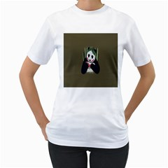 Simple Joker Panda Bears Women s T-Shirt (White) (Two Sided)