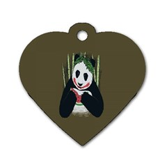 Simple Joker Panda Bears Dog Tag Heart (One Side)