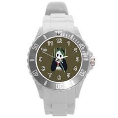 Simple Joker Panda Bears Round Plastic Sport Watch (L)