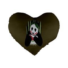 Simple Joker Panda Bears Standard 16  Premium Flano Heart Shape Cushions