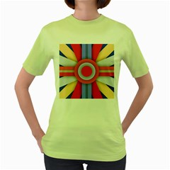 Round Color Copy Women s Green T-Shirt