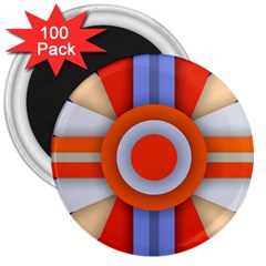Round Color Copy 3  Magnets (100 pack)