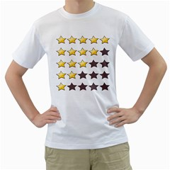 Star Rating Copy Men s T-Shirt (White) (Two Sided)