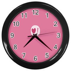 Valentines Pink Day Copy Wall Clocks (Black)