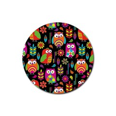 Ultra Soft Owl Rubber Round Coaster (4 pack)