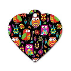 Ultra Soft Owl Dog Tag Heart (One Side)
