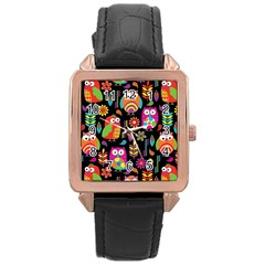 Ultra Soft Owl Rose Gold Leather Watch
