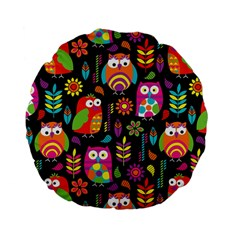 Ultra Soft Owl Standard 15  Premium Flano Round Cushions